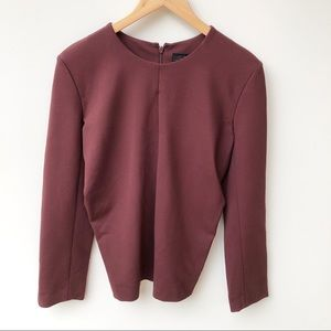 COS Burgandy Long Sleeve Top Zip Back Ruched Sides